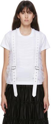 Noir Kei Ninomiya White Tulle Vertical Belt T-Shirt