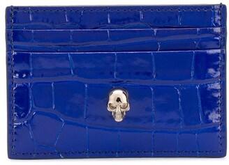 Alexander McQueen Crocodile-Effect Skull Embellishment Cardholder
