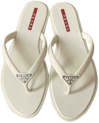 Prada White Rubber Sandals