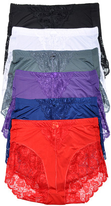 Angelina Women's Underwear Assorted - Purple & Blue Lace High-Waist Briefs Set - Women
