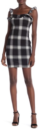 Love...Ady Ruffled Plaid Sleeveless Sheath Dress