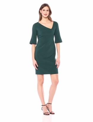 Lark & Ro Women's Half Sleeve Asymmetric V Neck Sheath Dress