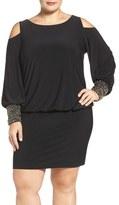 Xscape Evenings Embellished Cuff Cold Shoulder Blouson Jersey Dress (Plus Size)