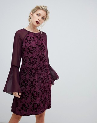 Paper Dolls velvet lace shift dress with sheer sleeve in wine-Red