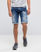 G Star G-Star 3301 Tapered Shorts with Abrasions