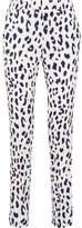Tibi Leopard-print Silk Straight-leg Pants - Ivory