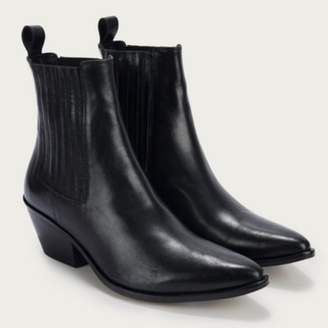 The White Company Leather Western Ankle Boots, Black, 37
