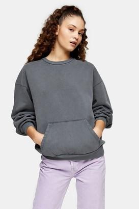 Topshop Womens Charcoal Grey Stonewash Pocket Sweatshirt - Charcoal