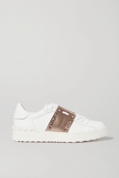 Valentino Garavani Open Metallic Leather Sneakers - White
