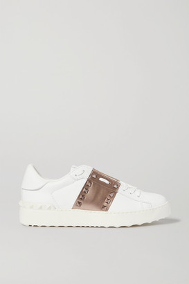 Valentino Garavani Open Metallic Leather Sneakers - White