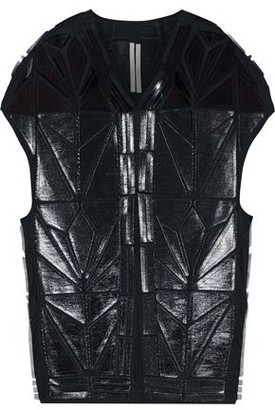 Rick Owens Whisper Short Mantle Appliqued Coated-cotton Vest