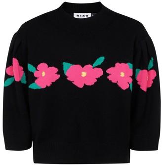 Rixo Floral Intarsia Knit Jumper