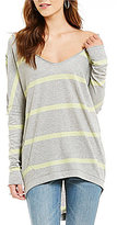 Free People Upstate V-Neck Long Sleeve Dropped Shoulder Striped Tee