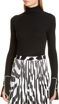 Proenza Schouler Rib Silk & Cashmere Blend Turtleneck Sweater