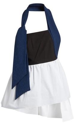 Isa Arfen Halterneck Cotton-poplin Asymmetric Top - Womens - Navy Multi