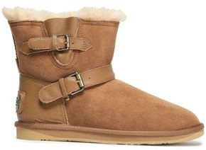 Australia Luxe Collective Buckled Leather-trimmed Shearling Ankle Boots