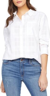Sanctuary Keepers Boyfriend Tonal Plaid Cotton Button-Up Shirt