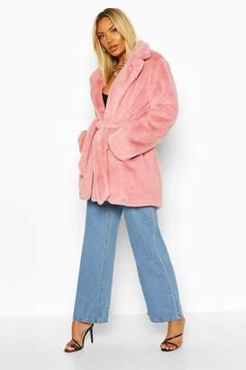 boohoo Belted Faux Fur Coat