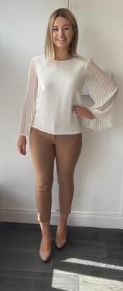 Marella Cream Blouse With Pleated Sleeve - Small