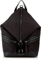 Jimmy Choo FITZROY/M Black Soft Nylon and Satin Leather Backpack
