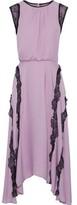 Jason Wu Asymmetric Lace-trimmed Silk Crepe De Chine Midi Dress