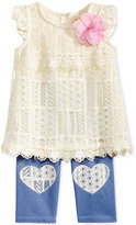 Nannette 2-Pc. Lace Tunic & Denim Capri Leggings Set, Baby Girls (0-24 months)