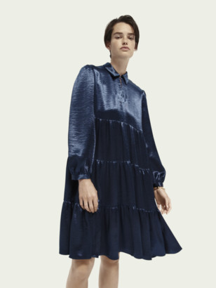 Scotch & Soda Satin-feel tiered skirt long sleeve midi dress   Women