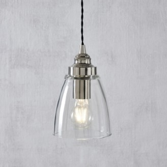 The White Company Aldeburgh Small Glass Pendant Light, Clear, One Size