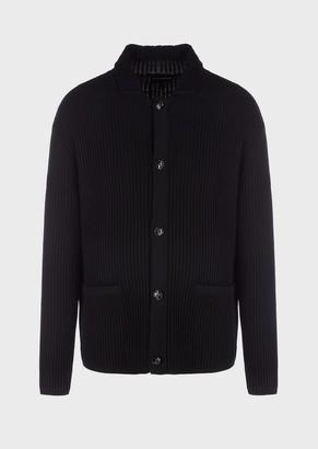 Emporio Armani Virgin Wool Blend Ribbed Cardigan