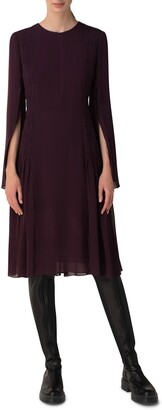 Akris Long Sleeve Pleated Silk Georgette Cocktail Dress