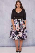 Yours Clothing SCARLETT & JO Black & Multi 2 In 1 Dusty Floral Dress