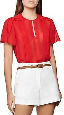 Reiss Millie Pleated Flutter-Sleeve Top