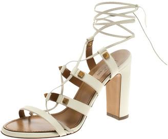Valentino White Leather Rockstud Block Heel Gladiator Lace Up Sandals Size 39
