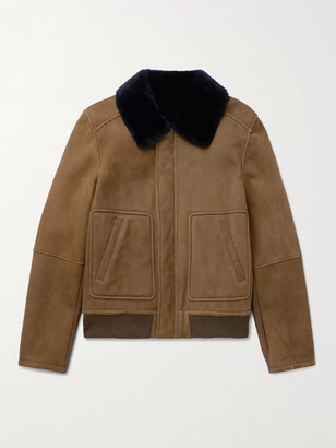 Yves Salomon Slim-Fit Shearling-Lined Suede Bomber Jacket