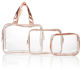 M&S Collection 3 Piece Rose Gold Clear Cosmetic Bag Set