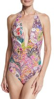 Etro Floral Paisley Plunging One-Piece Swimsuit, Red Multi