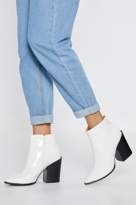 Nasty Gal Womens What's Your Ankle Patent Heeled Boots - White