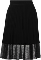 Rag & Bone Lyndale lace-paneled pleated crepe skirt