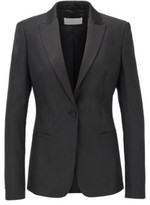 HUGO BOSS - Regular Fit Tuxedo Inspired Jacket With Satin Trims - Black
