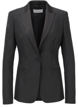 HUGO BOSS Regular Fit Tuxedo Inspired Jacket With Satin Trims - Black
