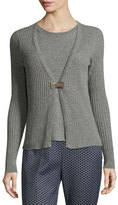 Peserico 2-in-1 Ribbed Merino Cardigan/Tee Combo, Gray
