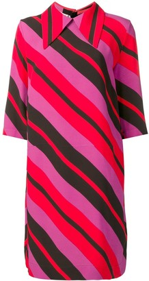 Marni Striped Pointed Collar Dress