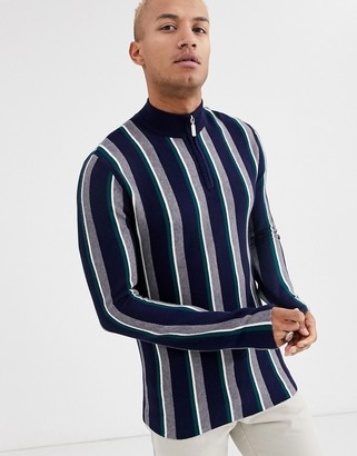 Topman half zip jumper in grey vertical stripe
