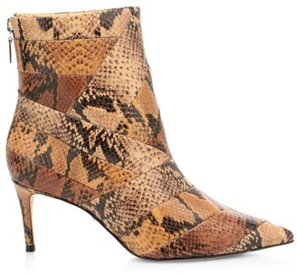 Schutz Samaira Snakeskin-Embossed Leather Ankle Boots