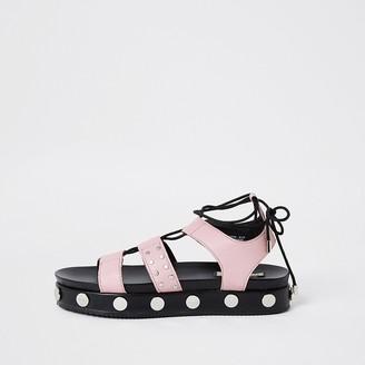 River Island Pink gladiator stud flatform sandal