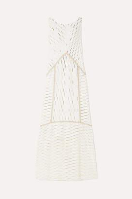 Rachel Zoe Laurent Metallic Fil Coupe Organza Maxi Dress - White