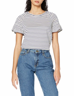 Scotch & Soda Women's Striped tee with Smocked Short Sleeves T-Shirt