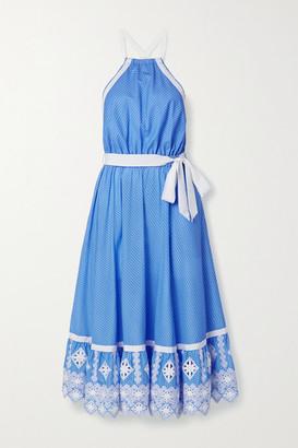 Miguelina Amanda Open-back Embroidered Polka-dot Cotton-poplin Midi Dress - Blue