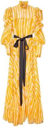 Siobhan Molloy Asymmetric Bow-Embellished Ruffled Abstract Print Dress