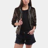 L'Agence Le Cheval Leopard Print Chain-Trim Jacket